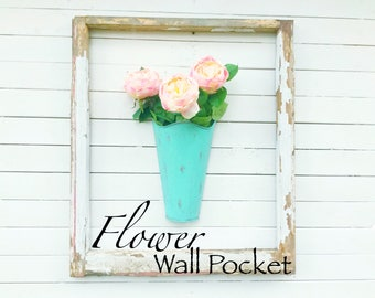 Rustic Patina Galvanized Metal Wall Pocket , Wall Planter , Farmhouse Wall Decor , Wall Plant Container , Galvanized  Hanging  Bucket