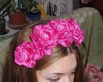 Romantic Silk Pink ,Fuktsii Rose Flower Crown Headband!