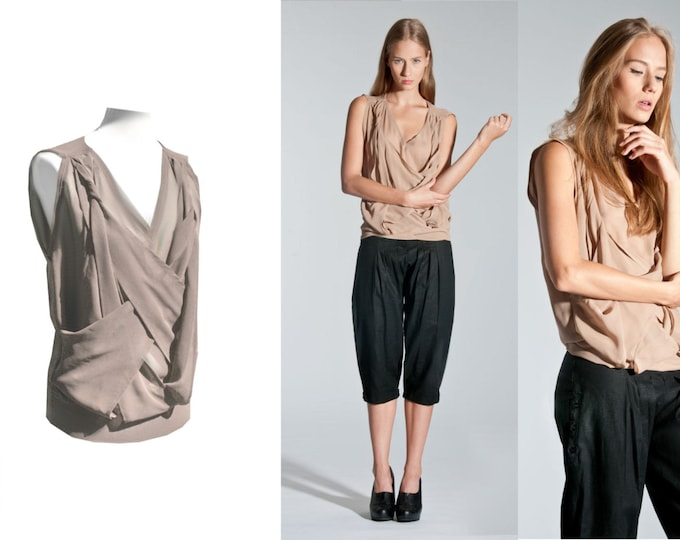 Chiffon blouse available with braided ribbons in lavender or Nude colors