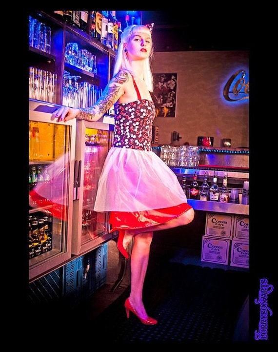 Kleid pin up 50iger würfel petticoat rüschen tüll rock tanzkleid swing sample sale