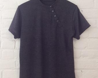 Charcoal Gray Asymmetrical Short Sleeved Henley Tee // Small and Medium