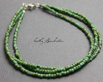 Turquoise Green Seed Bead Bracelet, Green Seed Bead Bracelet, Green Layering Bracelets, Boho Bracelets, Kathy Bankston, Triple Strand Green