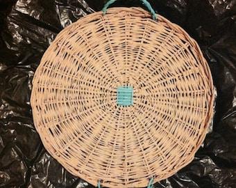Milk Painted Flat Wooden Wicker Basket with Handles, Flat Basket, Painted Basket, Wicker Basket with Handles
