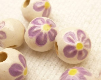 8mm Ceramic Lavender Flower Beads (10)