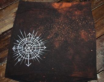 Hand dyed hand painted dark brown acid dye pagan mini skirt size L