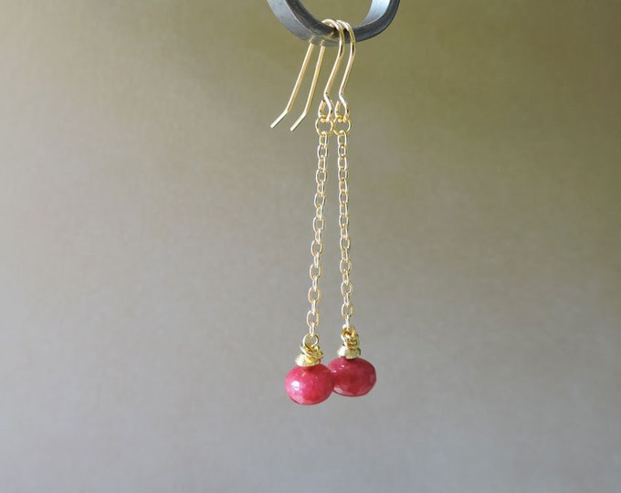 Long Gold & Ruby Drop Earrings - Large genuine pink/red ruby rondelle gold chain dangle hook wire earrings
