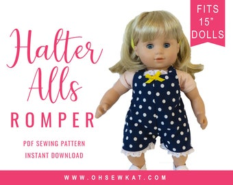 Baby Doll Clothes Sewing Pattern 15 inch dolls like Bitty Baby Twins Baby doll clothes sewing pattern Romper Overalls Doll Clothes PDF