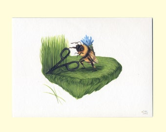 The Gardener - A5 archival giclee print - cute bee gardening illustration