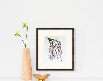 Cherry Blossom Art, Japanese Cherry Blossom Print, Botanical Art Prints