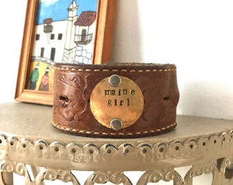 Maine girl leather cuff, Custom stamped cuff, gift for her, personalized leather bracelet, leather cuff, customized jewelry