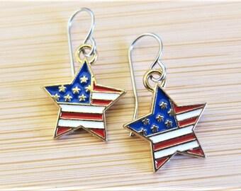 United States Flag Stars Stripes Enamel Earrings
