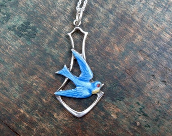 Deco Paye & Baker Sterling Silver and Enamel Bluebird Pendant