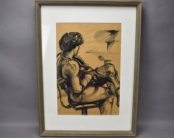 Charcoal Sketch Drawing on Paper Framed Profile of Man Sitting