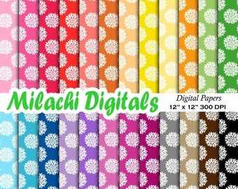 60% OFF SALE Dahlia digital papers, floral scrapbook papers,blossom wallpaper, flowers background, commercial use - M499