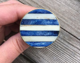 Round White and Dark Blue Drawer Knobs with Bone inlay in gold setting (RTG18-02)