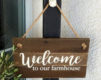 Welcome To Our Farmhouse sign, Hanging Welcome Sign, Wood Welcome Sign, Farmhouse Decor