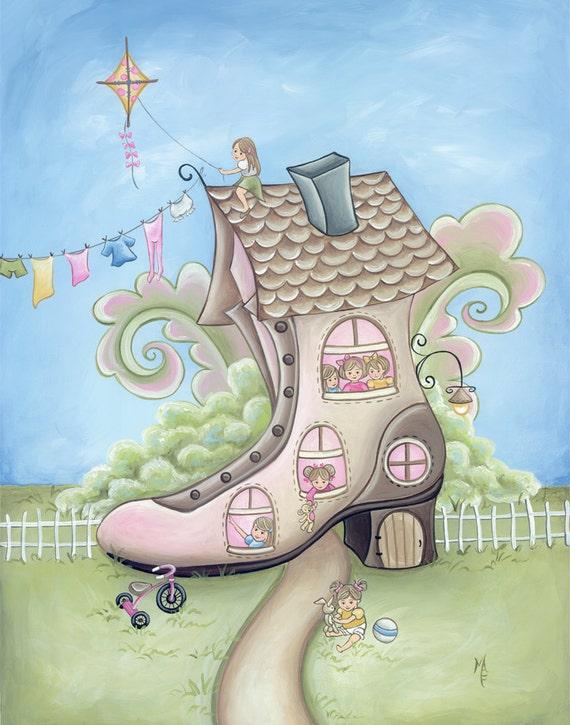 Old Woman In The Shoe Nursery Rhymes Print Children S
