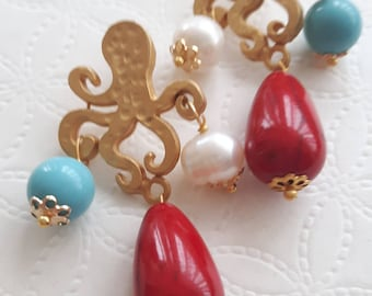 White pearl, turquoise and ceramic drops earrings, octopus brass earrings