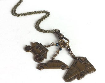 Antique Brass Necklace with Car, Train, and Stagecoach Charms - Travel Theme Charm Necklace - Vacation Going Places - Vintage Brass