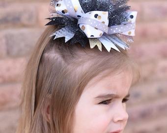 New year bow, New year hair bow, New year headband, Girls hair bow, Gold and silver hair bow, Boutique hair bow, Layered hair bows,
