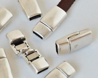 5mm flat rounded clasp silver plated Zamak magnetic bracelet clasp