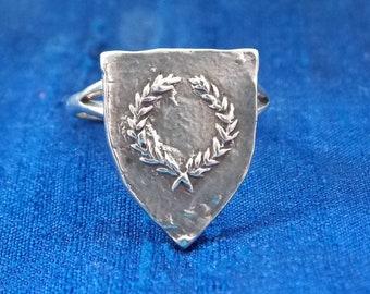 Heraldic laurel signet ring, Handmade SCA peerage jewelry, Order of the Laurel ring, sterling silver Renaissance, medieval rings