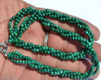 Green Malachite Rope Shape Faceted Beads Necklace 3-3.8 mm Silver Lock Ready To Wear Gemstone Beads Necklace