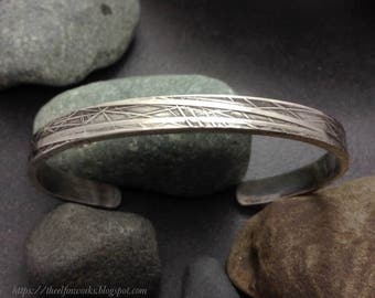 Thick sterling silver cuff bracelet, raised and recessed abstract branching pattern, one of a kind, narrow, medium size