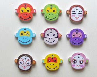 12 Wooden Monkey Buttons - #SB-00071