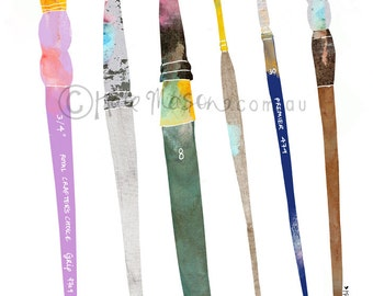 Messy Paint Brushes ART PRINT Art Supplies