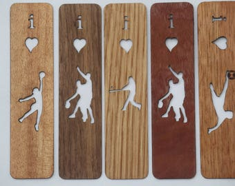 Single Bookmark, Wood with Sports themes.