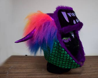 Ziggy Rainbow Monster Hat, Trapper Hat, Fur lined Winter hat By GingerFace