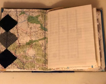 vintage travel themed altered book junk journal