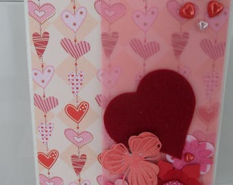 Valentine's day, Valentine's day, congratulations wedding card with heart card, card in pink and Red