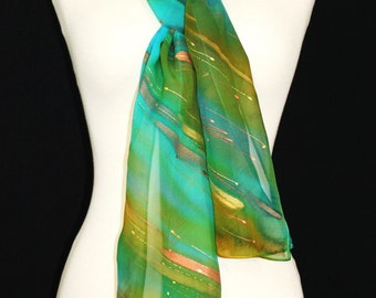 Green Silk Scarf. Teal Hand Painted Silk Shawl. Handmade Chiffon Silk Scarf ENCHANTED WOODS. 8x54. Birthday, Anniversary Gift. Gift-Wrapped