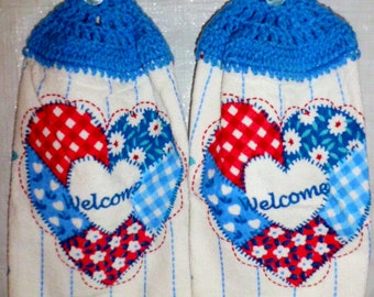 Set of Red White and Blue Welcome Kitchen Towels
