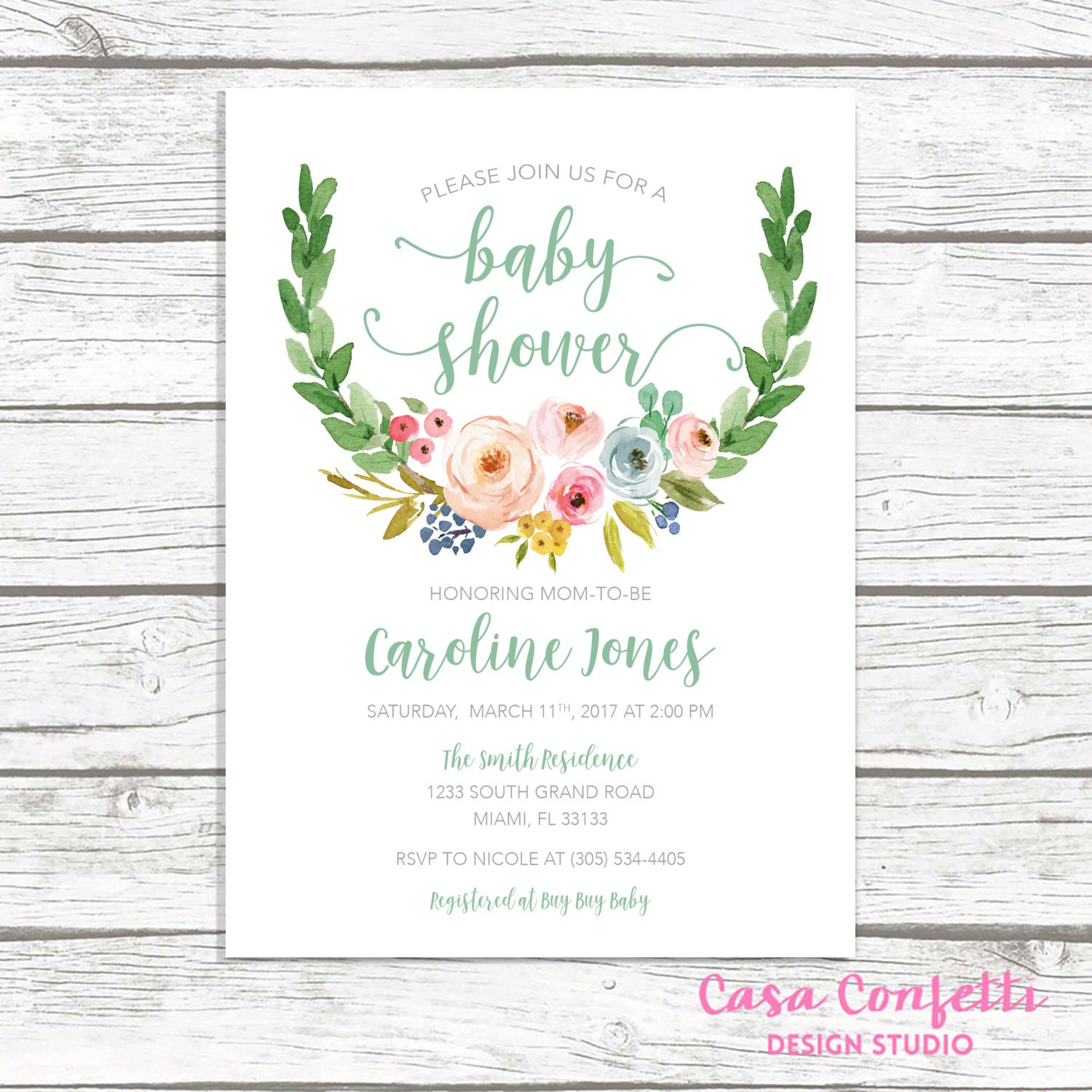 Gender Neutral Baby Shower Invitation, Green Baby Shower Invitation ...