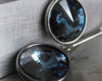 Midnight Blue Crystal Earrings, Swarovski Rivoli Crystal Earrings, Navy Blue, Black Gunmetal, Bridesmaid Earrings, September - After Dark