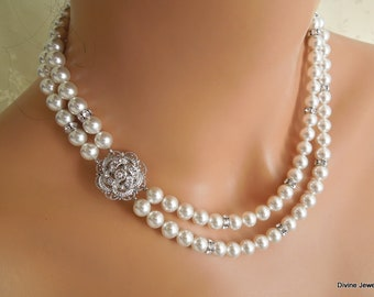 bridal pearl necklace, Wedding Rhinestone necklace, bridal jewelry, swarovski crystal and pearl necklace, Statement pearl necklace, ROSELANI