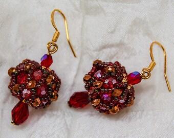 Beaded Bead Earrings in Scarlet and Gold