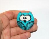 ooak turquoise owl brooch
