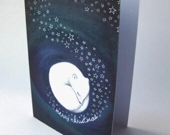 Arctic fox - christmas card - starry night