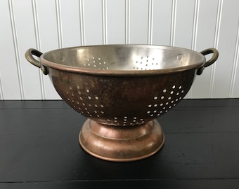 Vintage Copper Colander, Metal Kitchen Strainer, Sieve, Copper Cookware,  Stainless Steel,