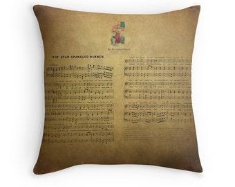Star Spangled Banner, Patriotic Decor, Patriotic Pillows, Americana, Song Lyric Gift, Vintage Decor, Rustic Decor, Historical