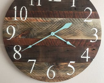 """Rustic old wood clock with teal hands. 24"""" Sample , custom clock will be made in order."""