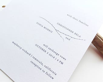 Printable Wedding Invitation | Modern Woodland Wedding Suite | Minimalist Rustic Wedding | Simple Dark Branch Greenery Wedding