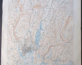 1918 Map Oyster Bay Hempstead Bay Long Island Sound