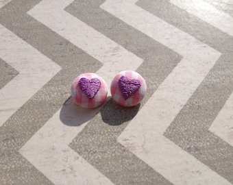 Ready to Ship Embroidered Heart Pink Gingham Fabric covered buttons