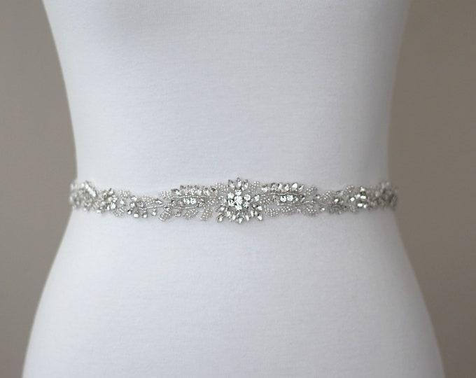 Dainty Bridal Belt, Floral Rhinestone Bridal Sash, Prom Belt, Beaded Bridal Sash, Wedding Belt, Wedding Sash Rhinestone Sash B73S