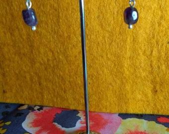 Amethyst Purple Gemstone and Sterling Silver Drop Earrings Made In Scotland